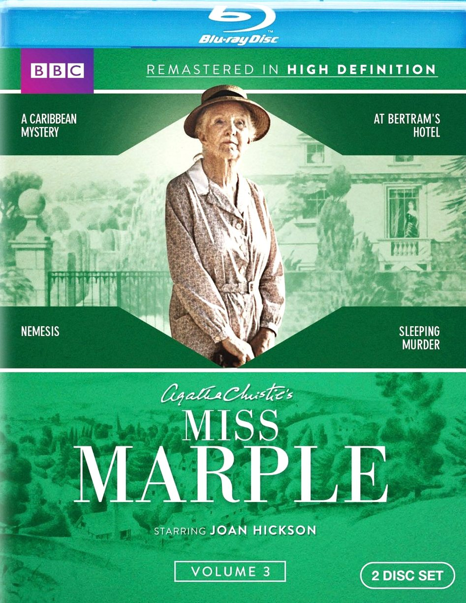 Miss Marple volume 3 Blu-ray from BBC Home Entertainment.  Features Joan Hickson in A Caribbean Mystery, At Bertram's Hotel, Nemesis, Sleeping Murder