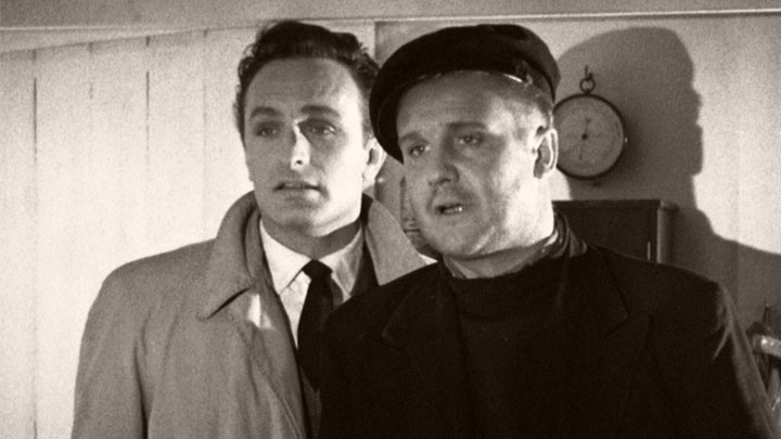 Anton Diffring (as Dmitri Krassin) and Donald Houston (as Albert Pascoe) in a photograph from Doublecross (1956)