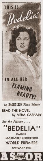 Margaret Lockwood (as Bedelia Carrington) in a poster for Bedelia (1946) (11)