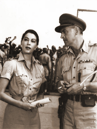 Ava Gardner (as Victoria Jones) and Stewart Granger (as Col Rodney Savage) in a photograph from Bhowani Junction (1956) (1)