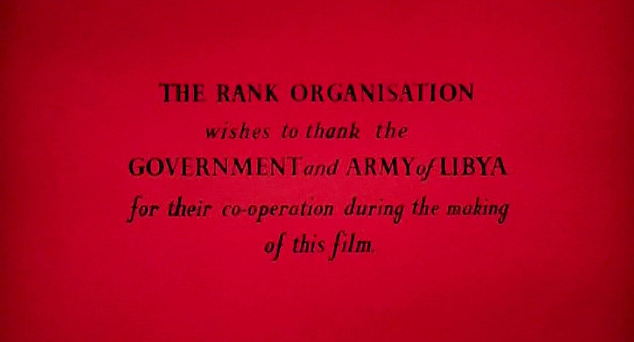 Main title from The Black Tent (1956) (12).  The Rank Organisation wishes to thank the government and army of Libya for their co-operation during the making of this film