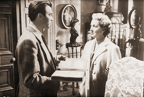 Dirk Bogarde (as Edward Bare) and Kay Walsh (as Charlotte Young) in a photograph from Cast a Dark Shadow (1955) (25)