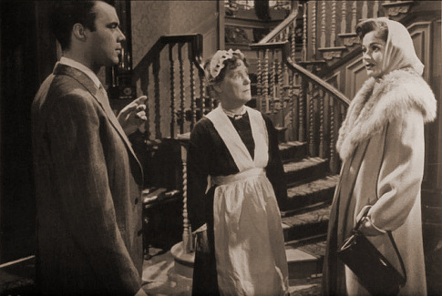 Dirk Bogarde (as Edward Bare), Kathleen Harrison (as Emmie) and Margaret Lockwood (as Freda Jeffries) in a photograph from Cast a Dark Shadow (1955) (27)