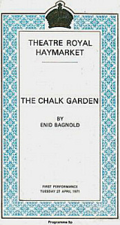 Programme from The Chalk Garden (1971) at the Haymarket Theatre, London (2)