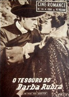 Cine Romance magazine with Stewart Granger and  Viveca Lindfors in Moonfleet.  Volume 6, issue number 16.  (Portuguese).  O Tesouro do Barba Rubra.