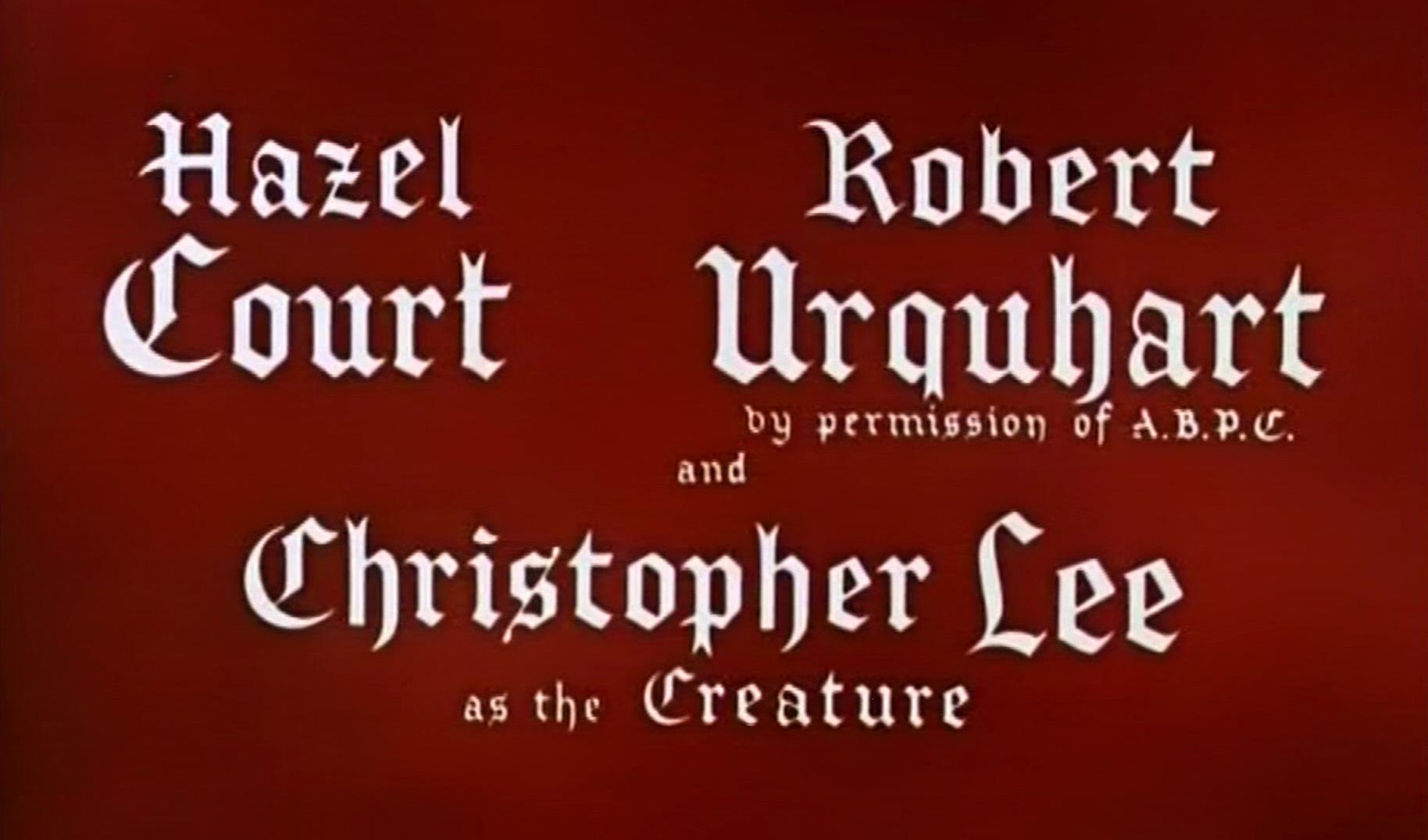 Main title from The Curse of Frankenstein (1957) (5).  Hazel Court, Robert Urquhart (by permission of ABPC) and Christopher Lee as the Creature