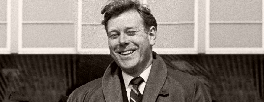 British broadcaster and actor, Desmond Carrington, smiles contentedly as he leaves ATV's studios at Borehamwood.  In the Emergency – Ward 10 series Carrington played Dr Chris Anderson.