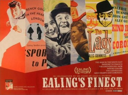 Poster for Ealing's Finest – in celebration of 100 years of Ealing Studios.  Films include The Man in the White Suit, Passport to Pimlico, The Lavender Hill Mob, Whisky Galore!, The Ladykillers and Kind Hearts and Coronets
