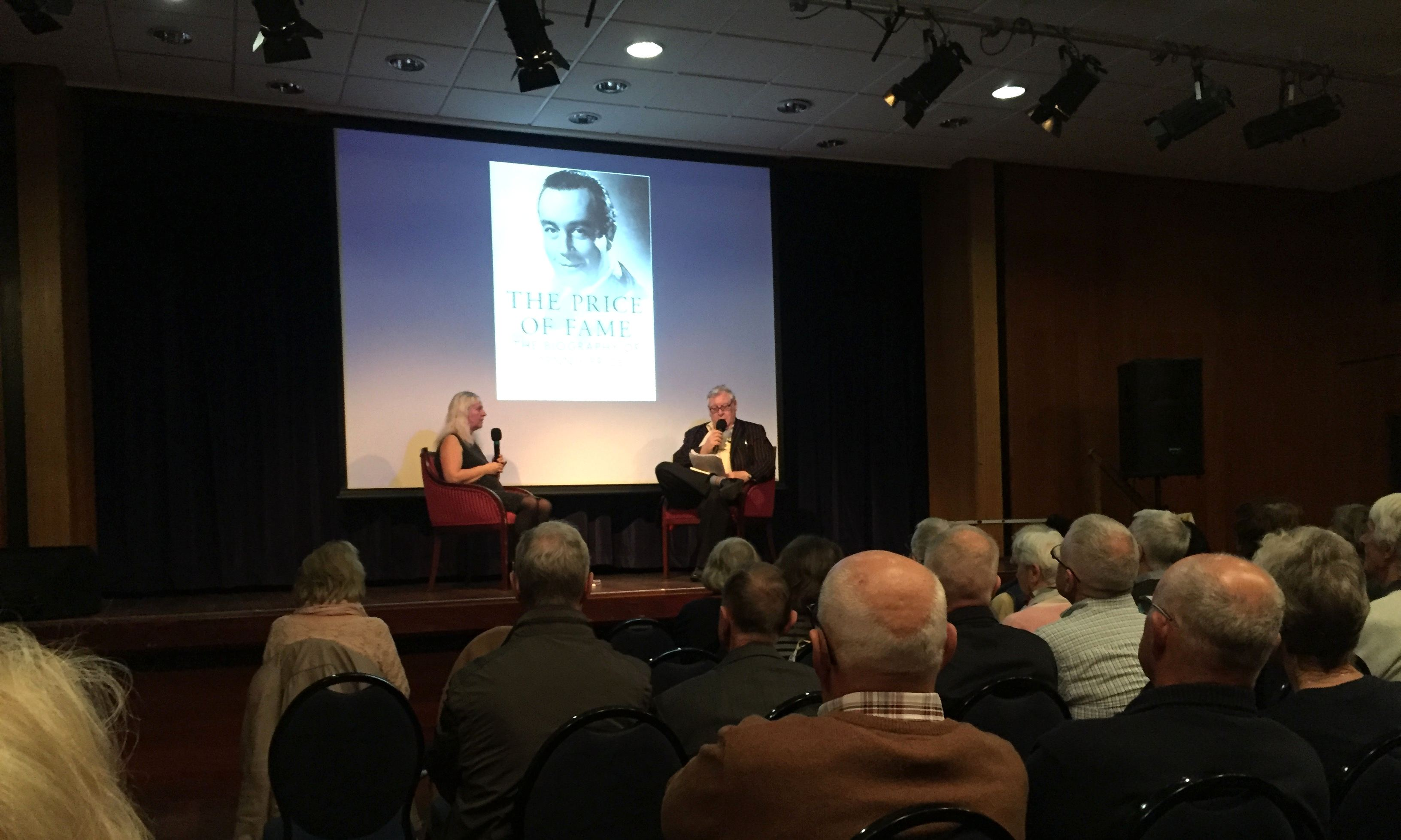 Author Elaine Parker discusses with Tony Flood the release of The Price of Fame, her new biography of Dennis Price, at the Underground Theatre, Eastbourne on 12th May, 2018