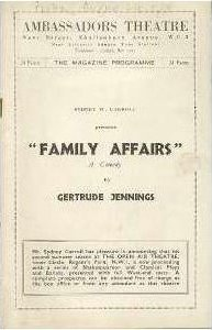 Programme from Family Affairs at the Ambassadors Theatre, London