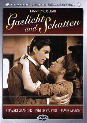 Stewart Granger (as Harry Somerford) and Phyllis Calvert (as Fanny Hooper) in a German DVD cover of Fanny by Gaslight (1944) (1)