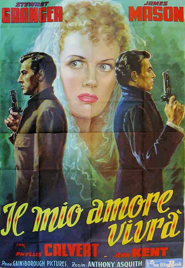 Stewart Granger (as Harry Somerford) and James Mason (as Lord Manderstoke) in an Italian poster for Fanny by Gaslight (1944) (2)