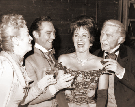 Margaret Lockwood celebrates her fiftieth birthday in the company of Richard Todd and Roger Livesey