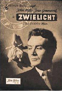 Film Bühne magazine with John Mills in The October Man.  (German).  Zwielicht.