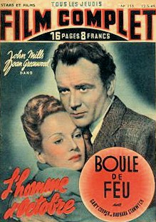 Film Complet magazine with Joan Greenwood and  John Mills in The October Man.  (French)