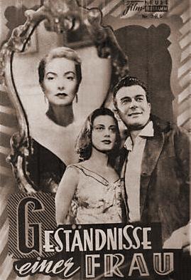 Film Neues Programm magazine with Patricia Roc in The Widow.  (German).  Geständnisse einer Frau.