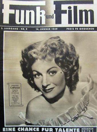 Funk und Film magazine with Margaret Lockwood in Cardboard Cavalier.  14th January, 1949, issue number 2.  (German)