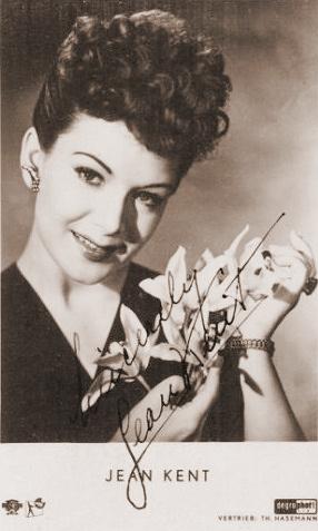 Signed, German photocard of British actress, Jean Kent