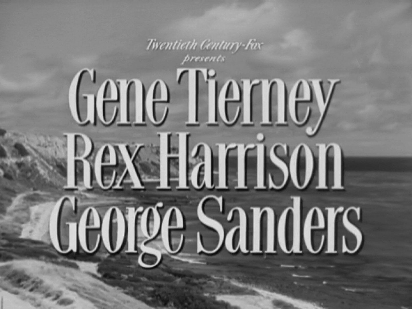 Main title from The Ghost and Mrs Muir (1947) (2). Gene Tierney, Rex Harrison, George Sanders