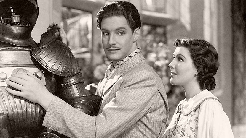 Photography of Robert Donat (Murdoch Glourie / Donald Glourie) and Jean Parker (Peggy Martin) in The Ghost Goes West (1935)