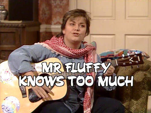 Screenshot from the 'Mr Fluffy Knows Too Much' (1986) episode of Girls on Top (1985-86) (8)