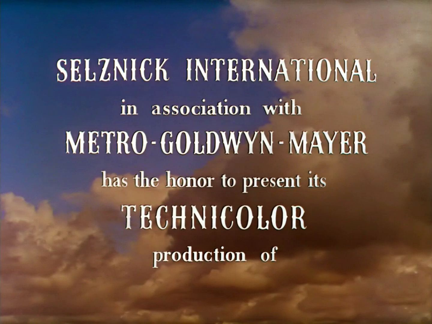 Main title from Gone with the Wind (1939) (2). Selznick International in association with Metro-Goldwyn-Mayer has the honor to present its Technicolour production of