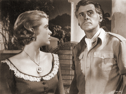 Grace Kelly (as Catherine Knowland) and Stewart Granger (as Rian X. Mitchell) in a photograph from Green Fire (1954) (7)