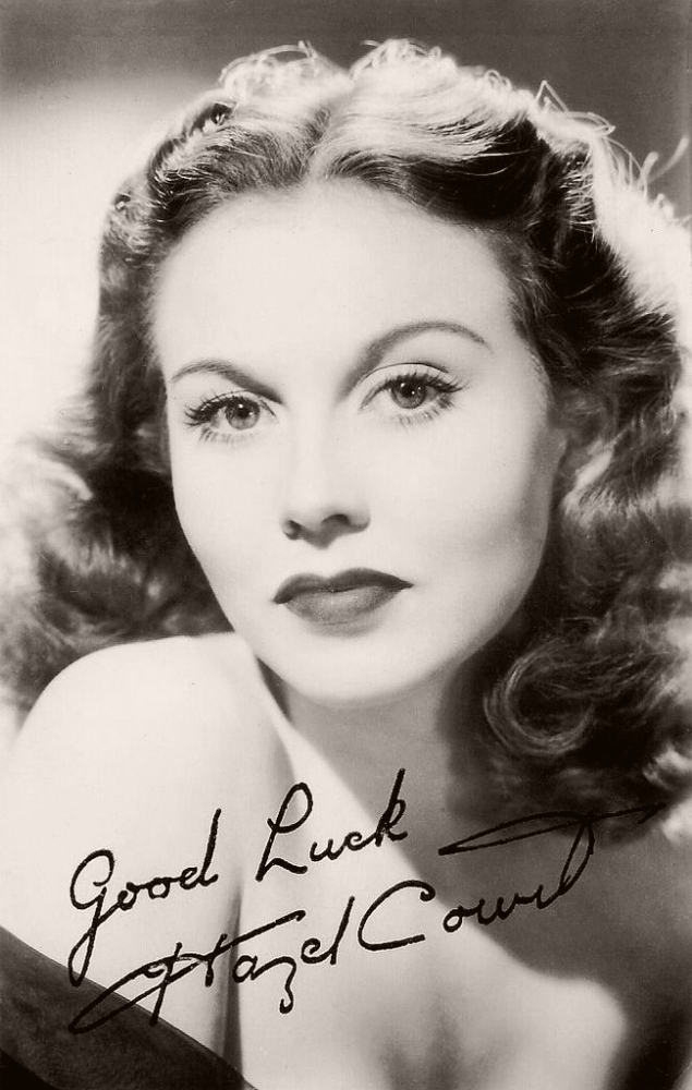 Lovely Hazel Court, British actress, who starred starred recently as Joan Huggett in Holiday Camp (1947) and as Helena Forsythe in My Sister and I (1948).  Picture reads 'Good Luck, Hazel Court'.