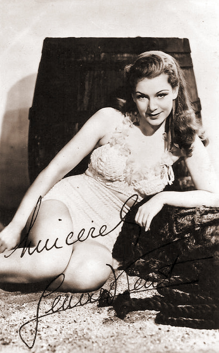 Jean Kent cheesecake postcard promoting The Man Within (autographed)