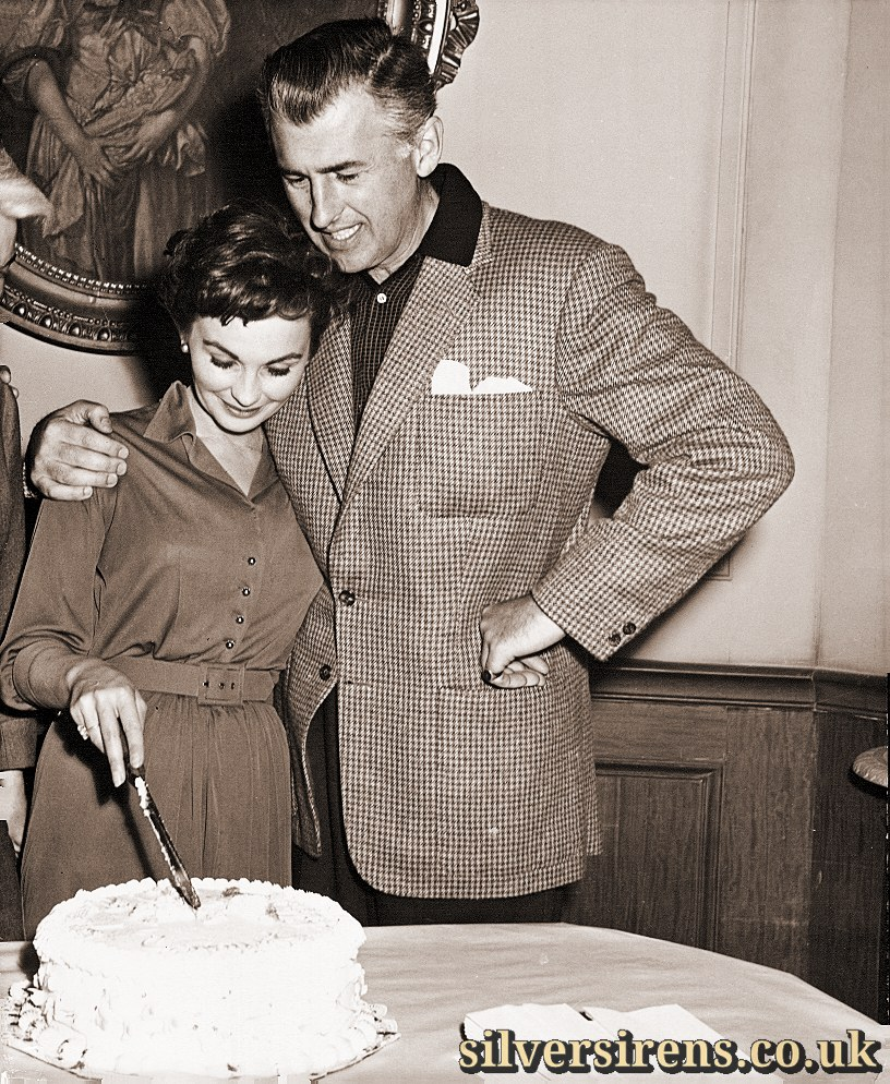 Jean Simmons and Stewart Granger recently revealed that they expect their first child in July.  Here Jean enjoys the last piece of her cake that her obstetrician will allow her until after the happy event.  This photo was taken at the end-of-the-picture party for Hilda Crane, Jean's next 20th-Fox CinemaScope release.  The love drama also stars Guy Madison and Jean Pierre Aumont.  1st May, 1956.