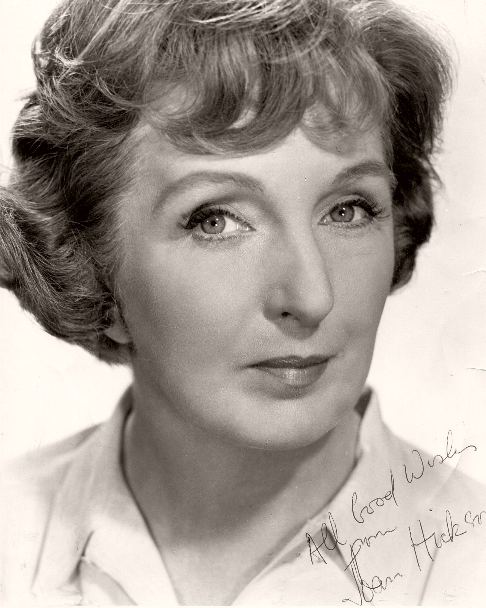 Signed photograph of English actress, Joan Hickson. Picture reads 'All good wishes, Joan Hickson'
