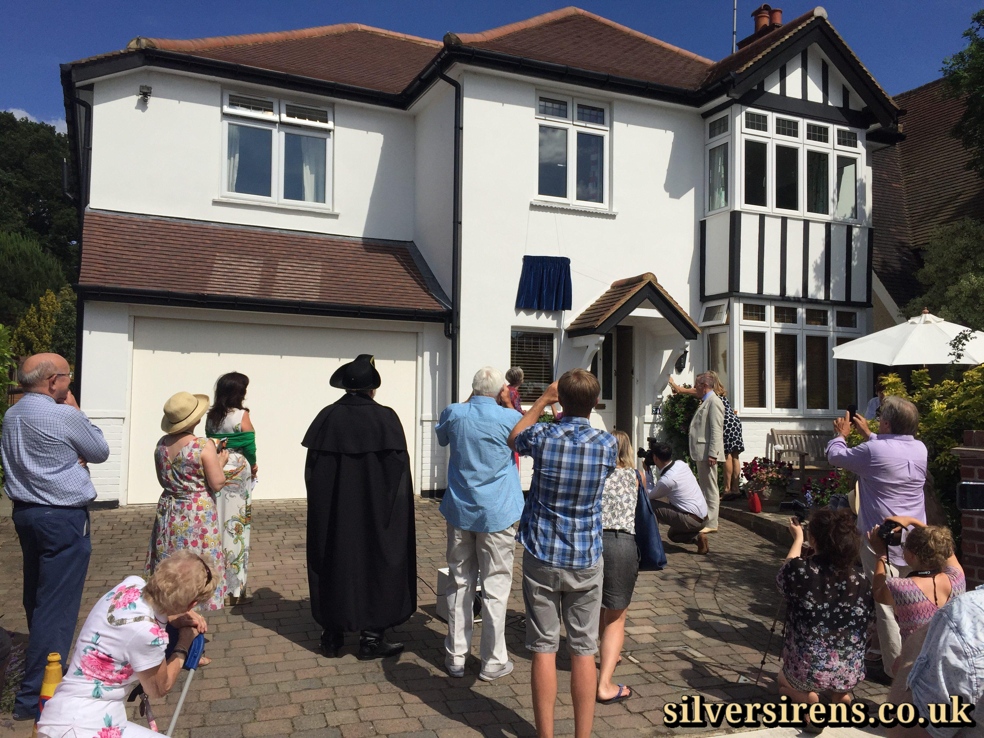 Actress Julia Lockwood pulls the cord to unveil a commemorative blue plaque for her mother, British film star Margaret Lockwood.  Upper Park Road, Kingston,  Saturday, 4th July, 2015