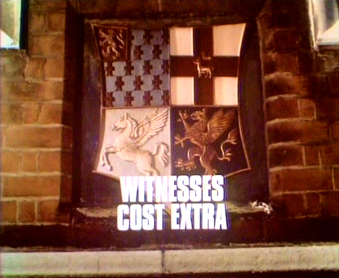 Main title from the 1971 episode of Justice (1971-74) called Witnesses Cost Extra (1971)