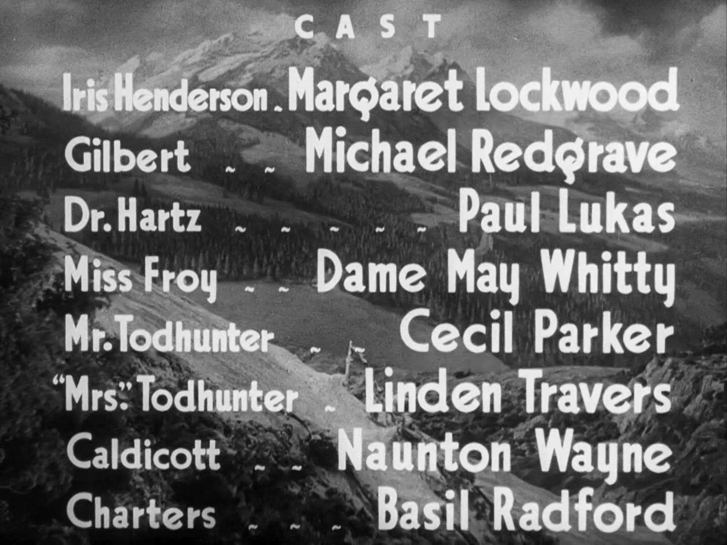 Main title from The Lady Vanishes (1938) (6). Cast: Margaret Lockwood, Michael Redgrave, Paul Lukas, Dame May Whitty, Cecil Parker, Linden Travers