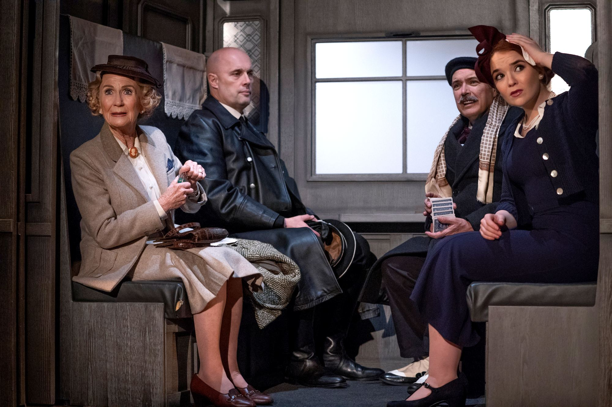 Scene from The Classic Thriller Theatre Company's 2019 production of The Lady Vanishes.  Features Juliet Mills as Miss Froy