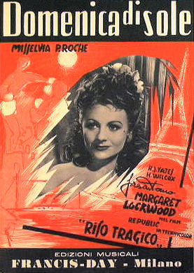 Margaret Lockwood (as Laughing Anne) in Italian sheet music from Laughing Anne (1953)