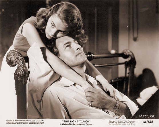Pier Angeli (as Anna Vasarri) and Stewart Granger (as Sam Conride) in a photograph from The Light Touch (1952) (2)