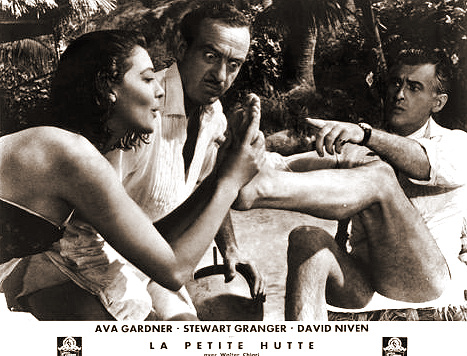 Ava Gardner (as Lady Susan Ashlow), David Niven (as Henry Brittingham-Brett) and Stewart Granger (as Sir Philip Ashlow) in a French photograph from The Little Hut (1957) (4)