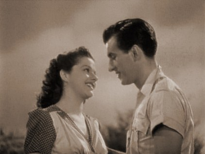 Margaret Lockwood (as Lissa Campbell) and Stewart Granger (as Kit Firth) in a screenshot from Love Story (1944) (1)