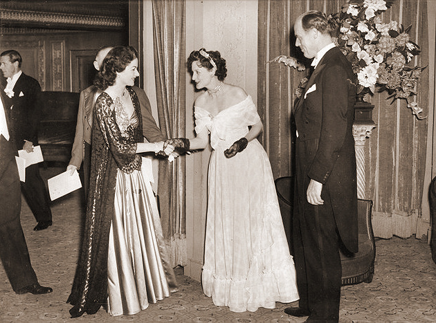 Margaret Lockwood is presented to Lord and Lady Rothermere, owners of the Daily Mail, at the National Film Awards at the Dorchester Hotel, on 10th May 1948.
