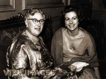English author Agatha Christie with actress Margaret Lockwood at the opening night of her play 'Towards Zero' at St James' Theatre, London
