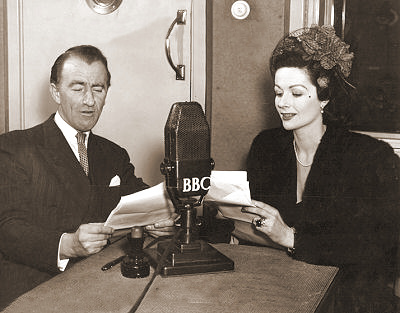 Australian comedian Dick Bentley and Margaret Lockwood in a broadcast for the BBC