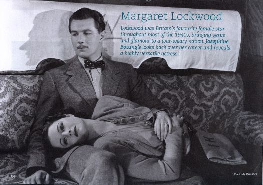 Margaret Lockwood and Michael Redgrave in a scene from The Lady Vanishes (1938) in the BFI's promotional booklet for their 2008 Margaret Lockwood season.  Page reads: 'Lockwood was Britain's favourite female star throughout most of the 1940s bringing verve and glamour to a war-weary nation.  Josephine Botting looks back over her career and reveals a highly versatile actress.'