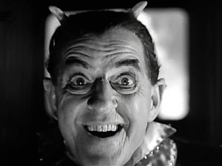 Mr Lucifer (Stanley Holloway) flies out into the third dimension.  A scene from Ealing Studios' Meet Mr Lucifer, 1953.