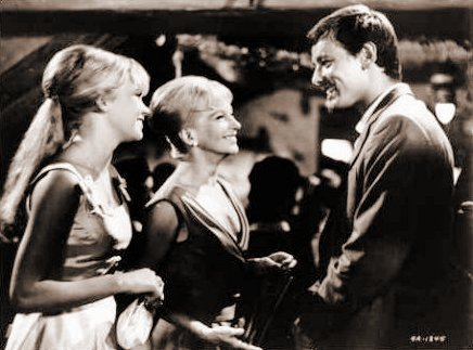 Hayley Mills (as Nikky Ferris), Joan Greenwood (as Aunt Frances Ferris) and Peter McEnery (as Mark Camford) in a photograph from The Moon-Spinners (1964) (5)