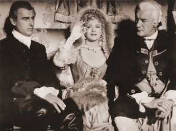 Stewart Granger (as Jeremy Fox), Joan Greenwood (as Lady Ashwood) and George Sanders (as Lord Ashwood) in a photograph from Moonfleet (1955) (3)