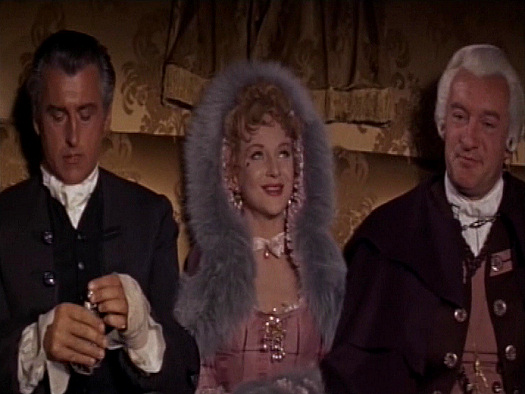 Stewart Granger (as Jeremy Fox), Joan Greenwood (as Lady Ashwood) and George Sanders (as Lord Ashwood) in a screenshot from Moonfleet (1955) (5)