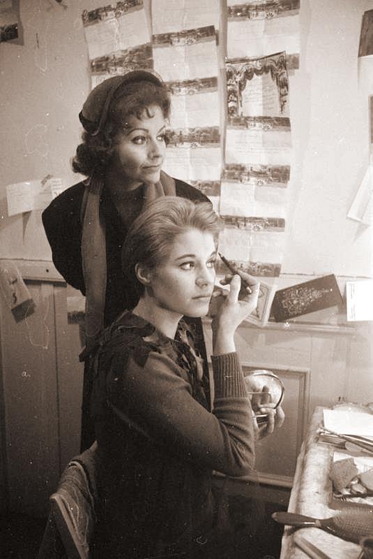 Mother Margaret looks on as Julia Lockwood does her make-up