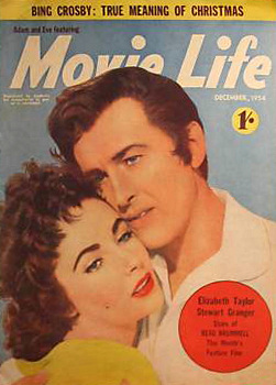 Movie Life magazine with Elizabeth Taylor and  Stewart Granger in Beau Brummell.  October, 1954.