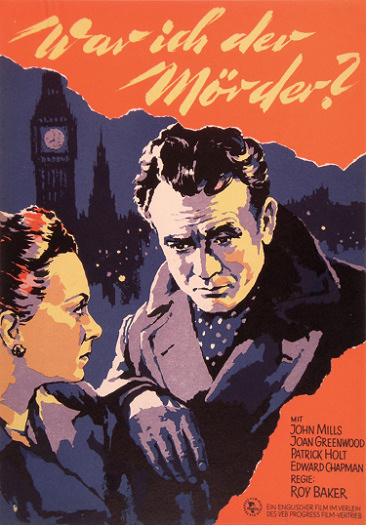 Joan Greenwood (as Jenny Carden) and John Mills (as Jim Ackland) in a German poster for The October Man (1947) (1)